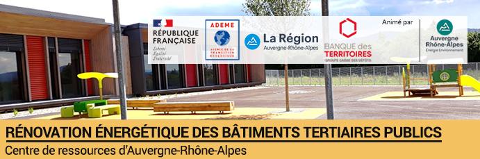 Logo : Les aides à la rénovation énergétique des bâtiments tertiaires publics en Auvergne-Rhône-Alpes